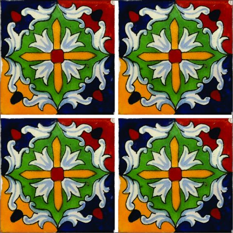 New Items / Talavera Tile 4x4 inch (90 pieces) - Style AZ166 / These beatiful handpainted Mexican Talavera tiles will give a colorful decorative touch to your bathrooms, vanities, window surrounds, fireplaces and more.