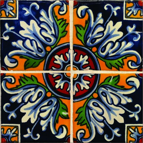 New Items / Talavera Tile 4x4 inch (90 pieces) - Style AZ167 / These beatiful handpainted Mexican Talavera tiles will give a colorful decorative touch to your bathrooms, vanities, window surrounds, fireplaces and more.