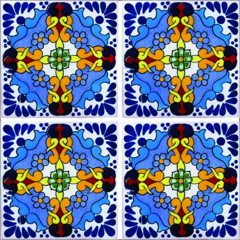 New Items / Talavera Tile 4x4 inch (90 pieces) - Style AZ168 / These beatiful handpainted Mexican Talavera tiles will give a colorful decorative touch to your bathrooms, vanities, window surrounds, fireplaces and more.