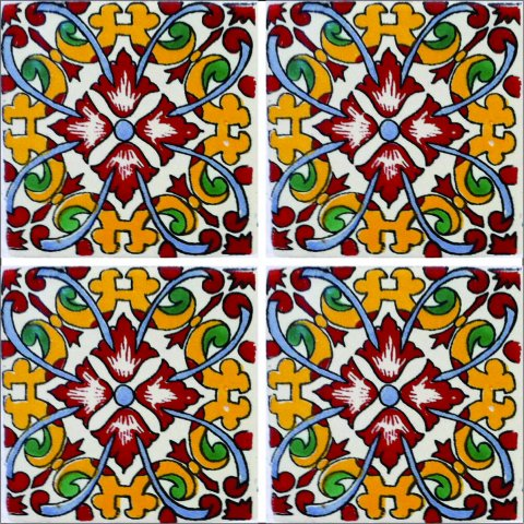New Items / Talavera Tile 4x4 inch (90 pieces) - Style AZ170 / These beatiful handpainted Mexican Talavera tiles will give a colorful decorative touch to your bathrooms, vanities, window surrounds, fireplaces and more.