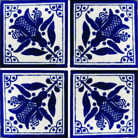New Items / Talavera Tile 4x4 inch (90 pieces) - Style AZ171 / These beatiful handpainted Mexican Talavera tiles will give a colorful decorative touch to your bathrooms, vanities, window surrounds, fireplaces and more.