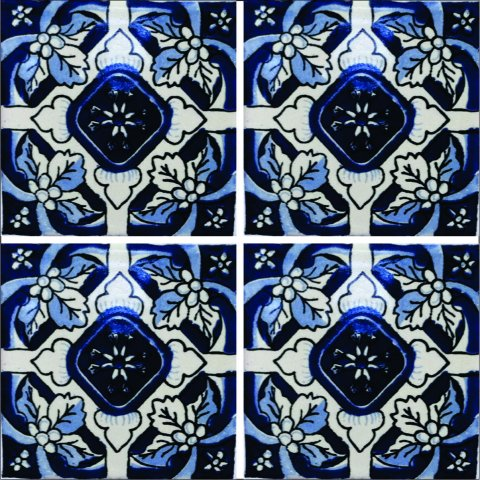 New Items / Talavera Tile 4x4 inch (90 pieces) - Style AZ172 / These beatiful handpainted Mexican Talavera tiles will give a colorful decorative touch to your bathrooms, vanities, window surrounds, fireplaces and more.