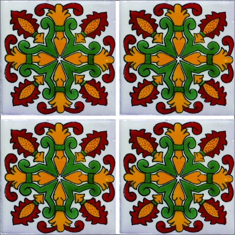 New Items / Talavera Tile 4x4 inch (90 pieces) - Style AZ173 / These beatiful handpainted Mexican Talavera tiles will give a colorful decorative touch to your bathrooms, vanities, window surrounds, fireplaces and more.