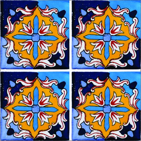 New Items / Talavera Tile 4x4 inch (90 pieces) - Style AZ174 / These beatiful handpainted Mexican Talavera tiles will give a colorful decorative touch to your bathrooms, vanities, window surrounds, fireplaces and more.