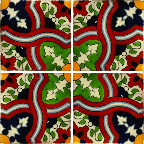 New Items / Talavera Tile 4x4 inch (90 pieces) - Style AZ175 / These beatiful handpainted Mexican Talavera tiles will give a colorful decorative touch to your bathrooms, vanities, window surrounds, fireplaces and more.