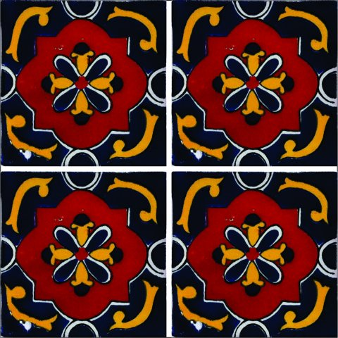 New Items / Talavera Tile 4x4 inch (90 pieces) - Style AZ176 / These beatiful handpainted Mexican Talavera tiles will give a colorful decorative touch to your bathrooms, vanities, window surrounds, fireplaces and more.
