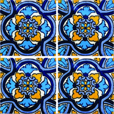 New Items / Talavera Tile 4x4 inch (90 pieces) - Style AZ177 / These beatiful handpainted Mexican Talavera tiles will give a colorful decorative touch to your bathrooms, vanities, window surrounds, fireplaces and more.