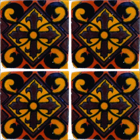 New Items / Talavera Tile 4x4 inch (90 pieces) - Style AZ180 / These beatiful handpainted Mexican Talavera tiles will give a colorful decorative touch to your bathrooms, vanities, window surrounds, fireplaces and more.