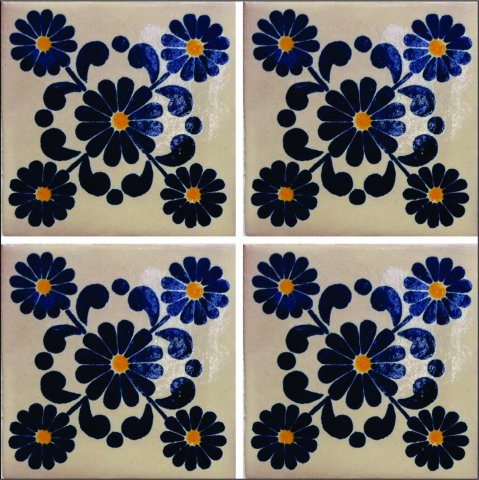 New Items / Talavera Tile 4x4 inch (90 pieces) - Style AZ181 / These beatiful handpainted Mexican Talavera tiles will give a colorful decorative touch to your bathrooms, vanities, window surrounds, fireplaces and more.