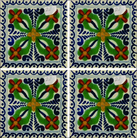 New Items / Talavera Tile 4x4 inch (90 pieces) - Style AZ182 / These beatiful handpainted Mexican Talavera tiles will give a colorful decorative touch to your bathrooms, vanities, window surrounds, fireplaces and more.