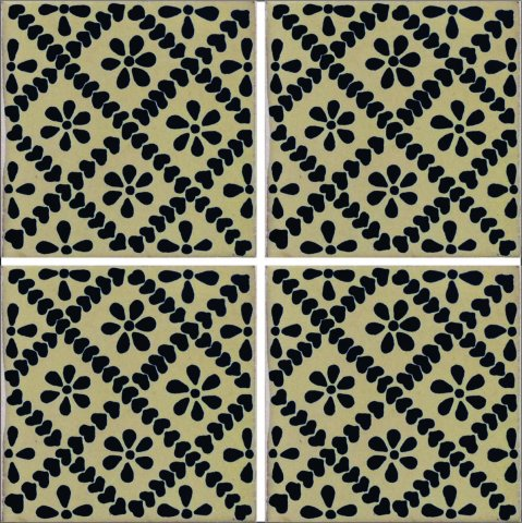 New Items / Talavera Tile 4x4 inch (90 pieces) - Style AZ183 / These beatiful handpainted Mexican Talavera tiles will give a colorful decorative touch to your bathrooms, vanities, window surrounds, fireplaces and more.