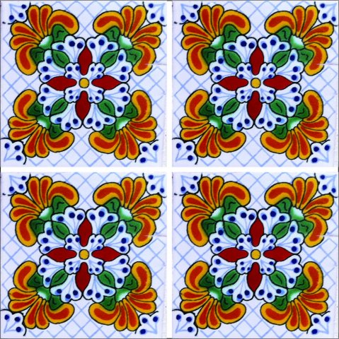 New Items / Talavera Tile 4x4 inch (90 pieces) - Style AZ186 / These beatiful handpainted Mexican Talavera tiles will give a colorful decorative touch to your bathrooms, vanities, window surrounds, fireplaces and more.