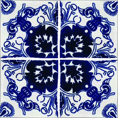 New Items / Talavera Tile 4x4 inch (90 pieces) - Style AZ187 / These beatiful handpainted Mexican Talavera tiles will give a colorful decorative touch to your bathrooms, vanities, window surrounds, fireplaces and more.