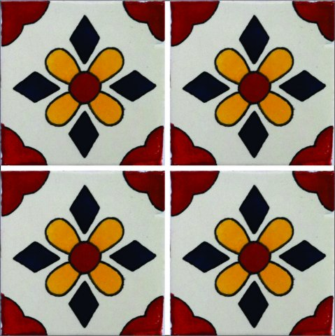 New Items / Talavera Tile 4x4 inch (90 pieces) - Style AZ188 / These beatiful handpainted Mexican Talavera tiles will give a colorful decorative touch to your bathrooms, vanities, window surrounds, fireplaces and more.