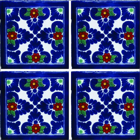 New Items / Talavera Tile 4x4 inch (90 pieces) - Style AZ190 / These beatiful handpainted Mexican Talavera tiles will give a colorful decorative touch to your bathrooms, vanities, window surrounds, fireplaces and more.