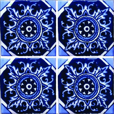 New Items / Talavera Tile 4x4 inch (90 pieces) - Style AZ191 / These beatiful handpainted Mexican Talavera tiles will give a colorful decorative touch to your bathrooms, vanities, window surrounds, fireplaces and more.