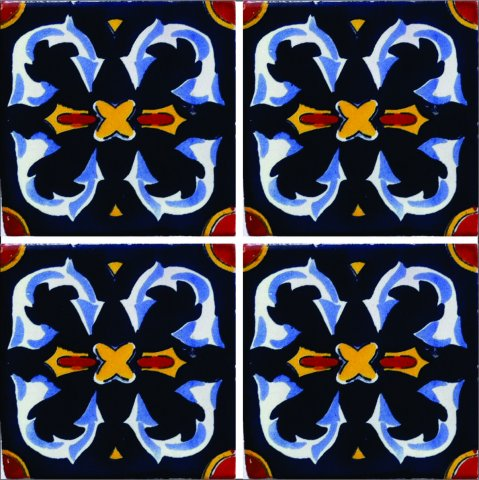 New Items / Talavera Tile 4x4 inch (90 pieces) - Style AZ193 / These beatiful handpainted Mexican Talavera tiles will give a colorful decorative touch to your bathrooms, vanities, window surrounds, fireplaces and more.