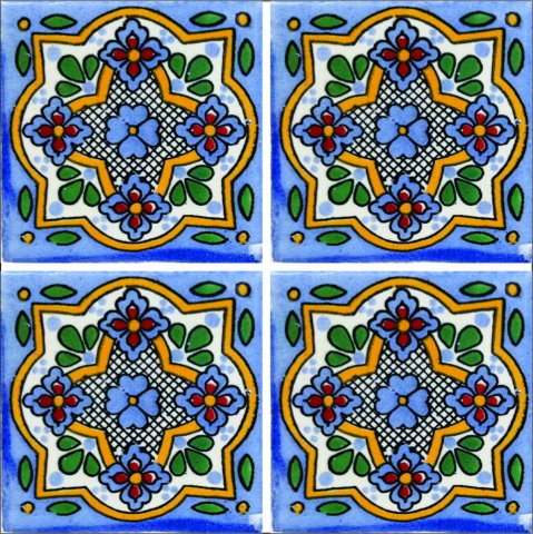 New Items / Talavera Tile 4x4 inch (90 pieces) - Style AZ194 / These beatiful handpainted Mexican Talavera tiles will give a colorful decorative touch to your bathrooms, vanities, window surrounds, fireplaces and more.