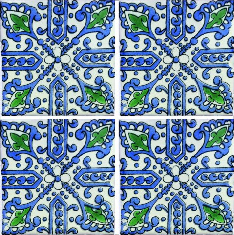 New Items / Talavera Tile 4x4 inch (90 pieces) - Style AZ195 / These beatiful handpainted Mexican Talavera tiles will give a colorful decorative touch to your bathrooms, vanities, window surrounds, fireplaces and more.
