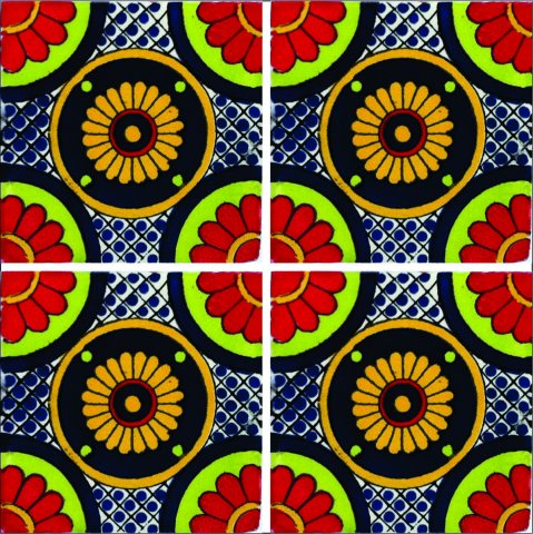 New Items / Talavera Tile 4x4 inch (90 pieces) - Style AZ196 / These beatiful handpainted Mexican Talavera tiles will give a colorful decorative touch to your bathrooms, vanities, window surrounds, fireplaces and more.