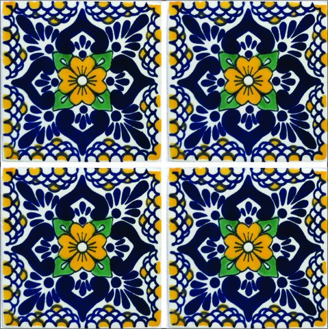 New Items / Talavera Tile 4x4 inch (90 pieces) - Style AZ197 / These beatiful handpainted Mexican Talavera tiles will give a colorful decorative touch to your bathrooms, vanities, window surrounds, fireplaces and more.