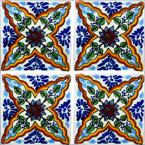 New Items / Talavera Tile 4x4 inch (90 pieces) - Style AZ199 / These beatiful handpainted Mexican Talavera tiles will give a colorful decorative touch to your bathrooms, vanities, window surrounds, fireplaces and more.