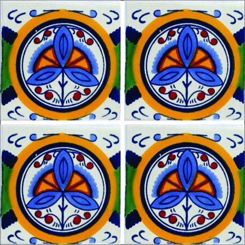 New Items / Talavera Tile 4x4 inch (90 pieces) - Style AZ200 / These beatiful handpainted Mexican Talavera tiles will give a colorful decorative touch to your bathrooms, vanities, window surrounds, fireplaces and more.
