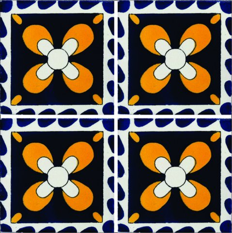 New Items / Talavera Tile 4x4 inch (90 pieces) - Style AZ202 / These beatiful handpainted Mexican Talavera tiles will give a colorful decorative touch to your bathrooms, vanities, window surrounds, fireplaces and more.