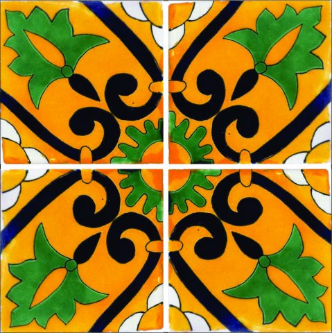New Items / Talavera Tile 4x4 inch (90 pieces) - Style AZ203 / These beatiful handpainted Mexican Talavera tiles will give a colorful decorative touch to your bathrooms, vanities, window surrounds, fireplaces and more.