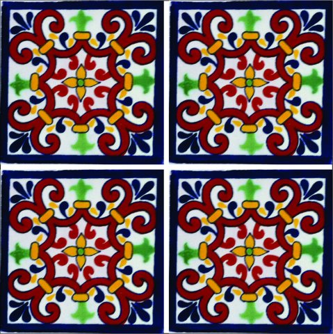 New Items / Talavera Tile 4x4 inch (90 pieces) - Style AZ204 / These beatiful handpainted Mexican Talavera tiles will give a colorful decorative touch to your bathrooms, vanities, window surrounds, fireplaces and more.