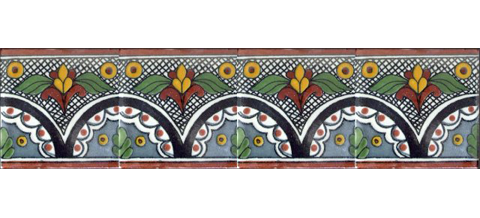 New Items / Border Tile 4x4 inch (90 pieces) - Style CN-01 / These beatiful handpainted Mexican Talavera tiles will give a colorful decorative touch to your bathrooms, vanities, window surrounds, fireplaces and more.