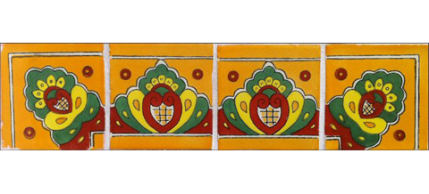 New Items / Border Tile 4x4 inch (90 pieces) - Style CN-02 / These beatiful handpainted Mexican Talavera tiles will give a colorful decorative touch to your bathrooms, vanities, window surrounds, fireplaces and more.