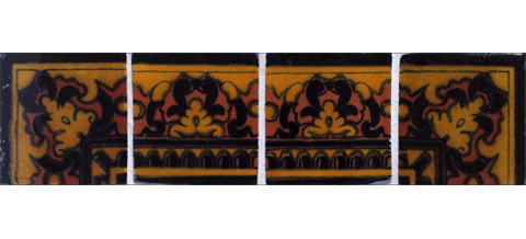 New Items / Border Tile 4x4 inch (90 pieces) - Style CN-03 / These beatiful handpainted Mexican Talavera tiles will give a colorful decorative touch to your bathrooms, vanities, window surrounds, fireplaces and more.