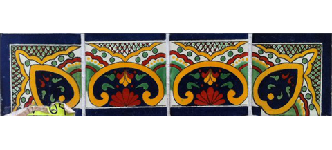 New Items / Border Tile 4x4 inch (90 pieces) - Style CN-04 / These beatiful handpainted Mexican Talavera tiles will give a colorful decorative touch to your bathrooms, vanities, window surrounds, fireplaces and more.
