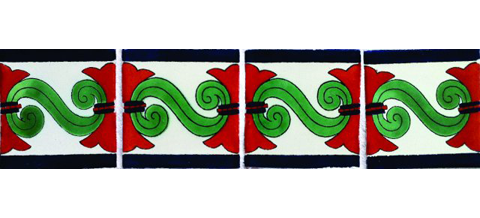 New Items / Border Tile 4x4 inch (90 pieces) - Style CN-06 / These beatiful handpainted Mexican Talavera tiles will give a colorful decorative touch to your bathrooms, vanities, window surrounds, fireplaces and more.