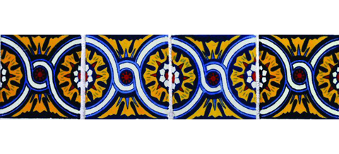 New Items / Border Tile 4x4 inch (90 pieces) - Style CN-07 / These beatiful handpainted Mexican Talavera tiles will give a colorful decorative touch to your bathrooms, vanities, window surrounds, fireplaces and more.
