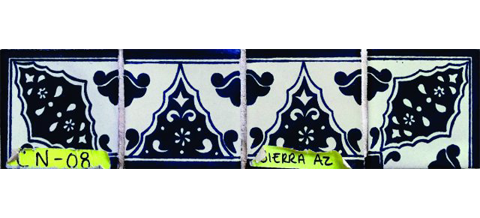 New Items / Border Tile 4x4 inch (90 pieces) - Style CN-08 / These beatiful handpainted Mexican Talavera tiles will give a colorful decorative touch to your bathrooms, vanities, window surrounds, fireplaces and more.