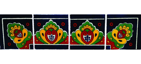 New Items / Border Tile 4x4 inch (90 pieces) - Style CN-09 / These beatiful handpainted Mexican Talavera tiles will give a colorful decorative touch to your bathrooms, vanities, window surrounds, fireplaces and more.