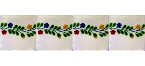 New Items / Border Tile 4x4 inch (90 pieces) - Style CN-10 / These beatiful handpainted Mexican Talavera tiles will give a colorful decorative touch to your bathrooms, vanities, window surrounds, fireplaces and more.