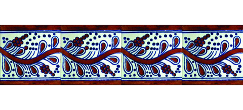 New Items / Border Tile 4x4 inch (90 pieces) - Style CN-12 / These beatiful handpainted Mexican Talavera tiles will give a colorful decorative touch to your bathrooms, vanities, window surrounds, fireplaces and more.