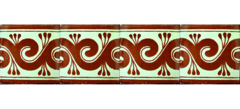 New Items / Border Tile 4x4 inch (90 pieces) - Style CN-13 / These beatiful handpainted Mexican Talavera tiles will give a colorful decorative touch to your bathrooms, vanities, window surrounds, fireplaces and more.