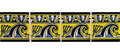 New Items / Border Tile 4x4 inch (90 pieces) - Style CN-14 / These beatiful handpainted Mexican Talavera tiles will give a colorful decorative touch to your bathrooms, vanities, window surrounds, fireplaces and more.