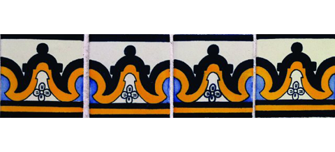 New Items / Border Tile 4x4 inch (90 pieces) - Style CN-15 / These beatiful handpainted Mexican Talavera tiles will give a colorful decorative touch to your bathrooms, vanities, window surrounds, fireplaces and more.