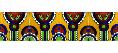 New Items / Border Tile 4x4 inch (90 pieces) - Style CN-17 / These beatiful handpainted Mexican Talavera tiles will give a colorful decorative touch to your bathrooms, vanities, window surrounds, fireplaces and more.