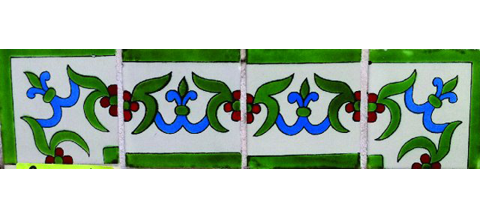 New Items / Border Tile 4x4 inch (90 pieces) - Style CN-19 / These beatiful handpainted Mexican Talavera tiles will give a colorful decorative touch to your bathrooms, vanities, window surrounds, fireplaces and more.