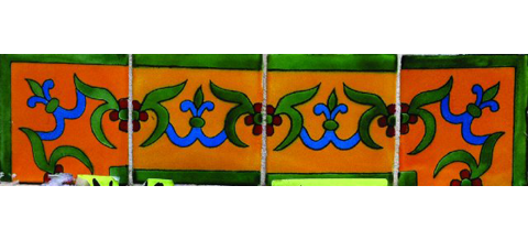 New Items / Border Tile 4x4 inch (90 pieces) - Style CN-20 / These beatiful handpainted Mexican Talavera tiles will give a colorful decorative touch to your bathrooms, vanities, window surrounds, fireplaces and more.