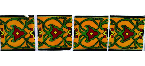 New Items / Border Tile 4x4 inch (90 pieces) - Style CN-23 / These beatiful handpainted Mexican Talavera tiles will give a colorful decorative touch to your bathrooms, vanities, window surrounds, fireplaces and more.