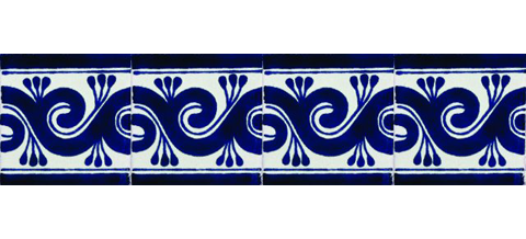 New Items / Border Tile 4x4 inch (90 pieces) - Style CN-25 / These beatiful handpainted Mexican Talavera tiles will give a colorful decorative touch to your bathrooms, vanities, window surrounds, fireplaces and more.