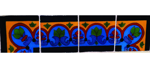 New Items / Border Tile 4x4 inch (90 pieces) - Style CN-27 / These beatiful handpainted Mexican Talavera tiles will give a colorful decorative touch to your bathrooms, vanities, window surrounds, fireplaces and more.