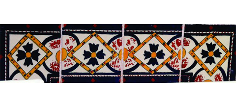New Items / Border Tile 4x4 inch (90 pieces) - Style CN-28 / These beatiful handpainted Mexican Talavera tiles will give a colorful decorative touch to your bathrooms, vanities, window surrounds, fireplaces and more.